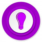 bulb icon, violet button, idea sign