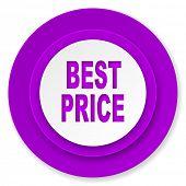best price icon, violet button