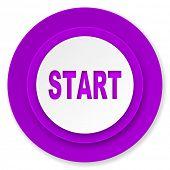 start icon, violet button