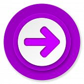 right arrow icon, violet button, arrow sign