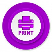 printer icon, violet button, print sign