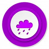 rain icon, violet button, waether forecast sign