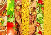 Appetizing Meat And Vegetable Images Collage.
