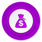 money icon, violet button
