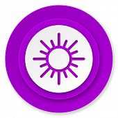 sun icon, violet button, waether forecast sign