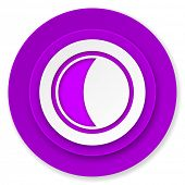 moon icon, violet button, sleep sign