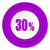 30 percent icon, violet button, sale sign