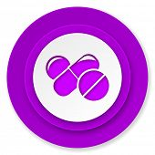 medicine icon, violet button, drugs symbol, pills sign