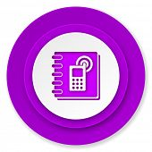phonebook icon, violet button