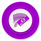money icon, violet button, cash symbol