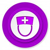 nurse icon, violet button, hospital sign