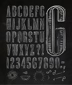 stock photo of chalkboard  - Vintage font set letters in retro style old alphabet on chalkboard - JPG