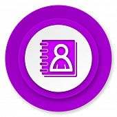 address book icon, violet button