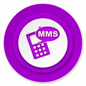 mms icon, violet button, phone sign