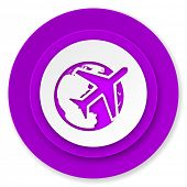 travel icon, violet button