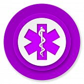 emergency icon, violet button, hospital sign