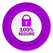 secure icon, violet button