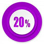 20 percent icon, violet button, sale sign