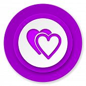 love icon, violet button, valentine sign, hearts symbol