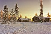 stock photo of laplander  - Two wooden cottages at winter finnish Lapland - JPG