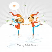 Vector merry christmas greeting card, joyful boy and girl ice skating, expressing love.