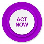 act now icon, violet button