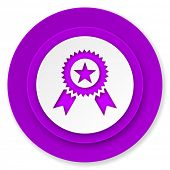 award icon, violet button, prize sign