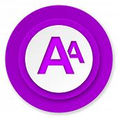 alphabet icon, violet button