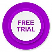 free trial icon, violet button