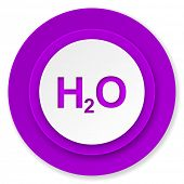 water icon, violet button, h2o sign
