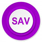sav icon, violet button