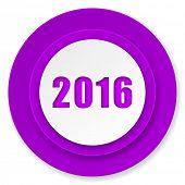new year 2016 icon, violet button, new years symbol