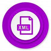 xml file icon, violet button