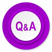 question answer icon, violet button