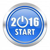 new year 2016 icon, blue button, new years symbol