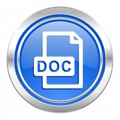 doc file icon, blue button