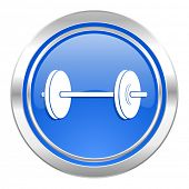 fitness icon, blue button