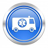 ambulance icon, blue button
