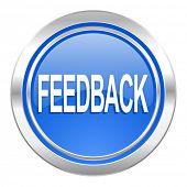 feedback icon, blue button
