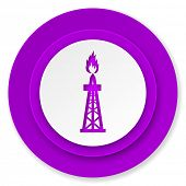 gas icon, violet button, oil sign