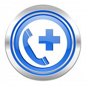emergency call icon, blue button