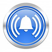 alarm icon, blue button, alert sign, bell symbol
