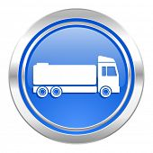 truck icon, blue button, cargo sign