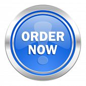 order now icon, blue button