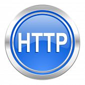 http icon, blue button