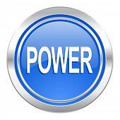 power icon, blue button