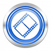 film icon, blue button, movie sign, cinema symbol