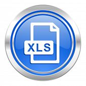 xls file icon, blue button