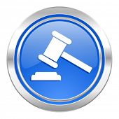 auction icon, blue button, court sign, verdict symbol
