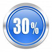 30 percent icon, blue button, sale sign